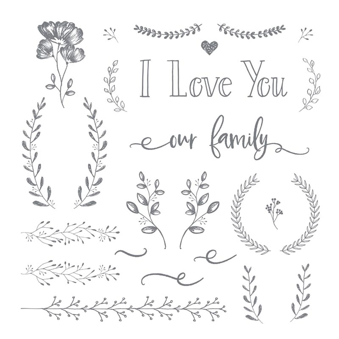 Clear Stamp - I Love You / Family - 12x12