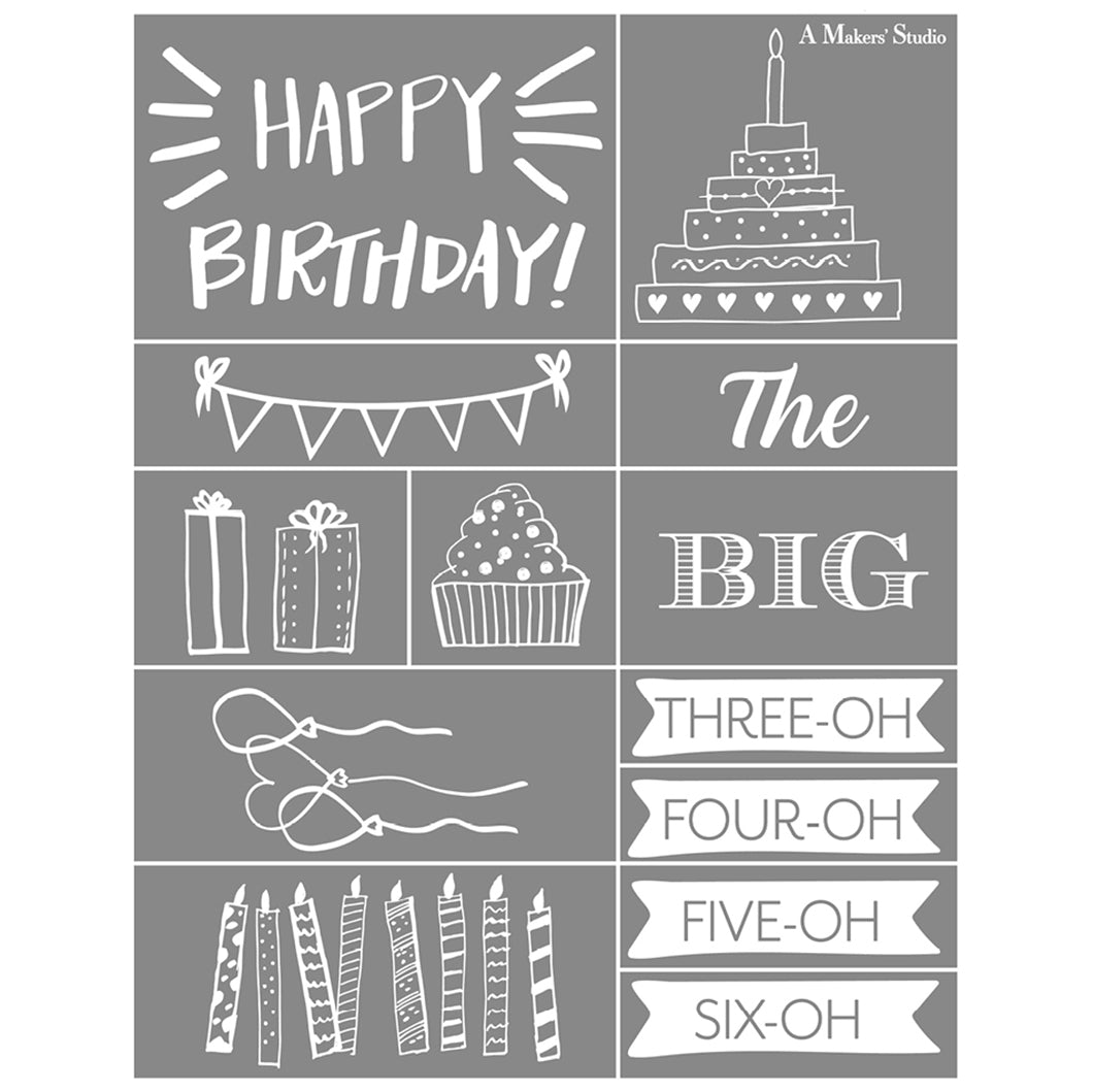 Mesh Stencil - Happy Birthday - 8.5 x 11
