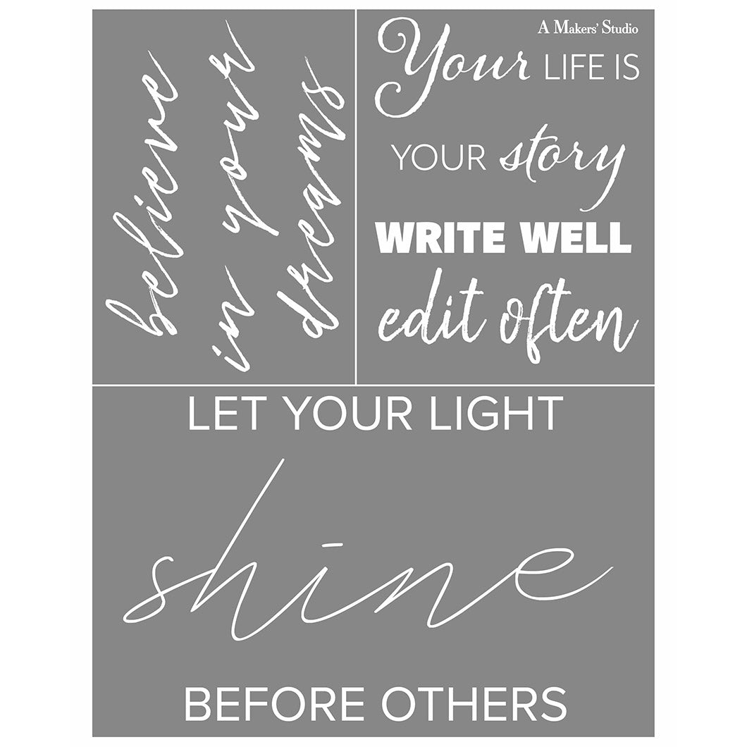 Mesh Stencil - Believe Quotes - 8.5 x 11