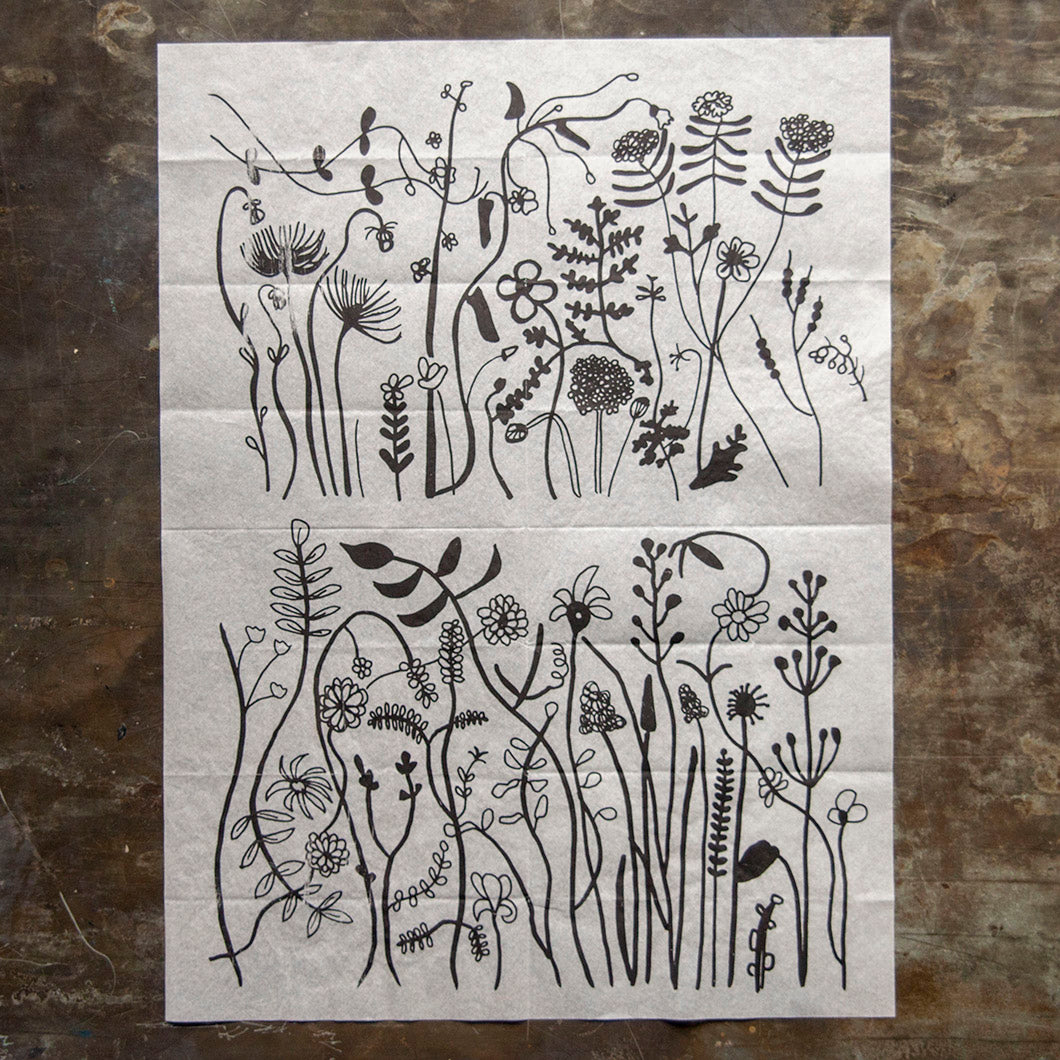 Ink Transfer - Wildflowers - 23.5in x 16.5in
