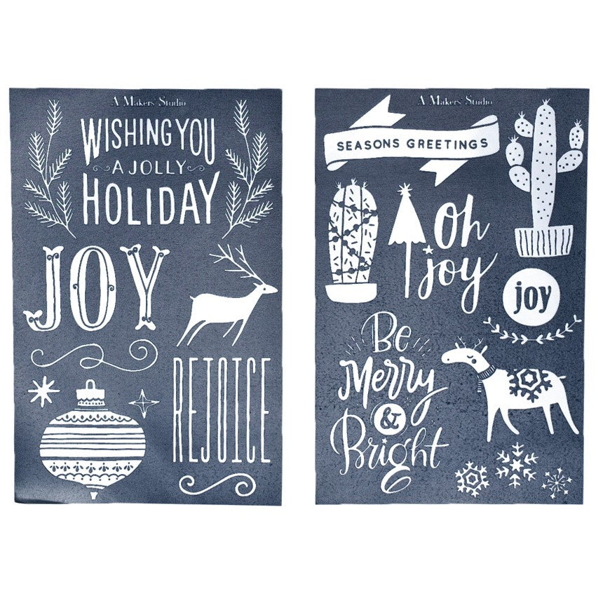 Mesh Stencil - 2 pack - Wishing You Joy - 5.5 x 8.5