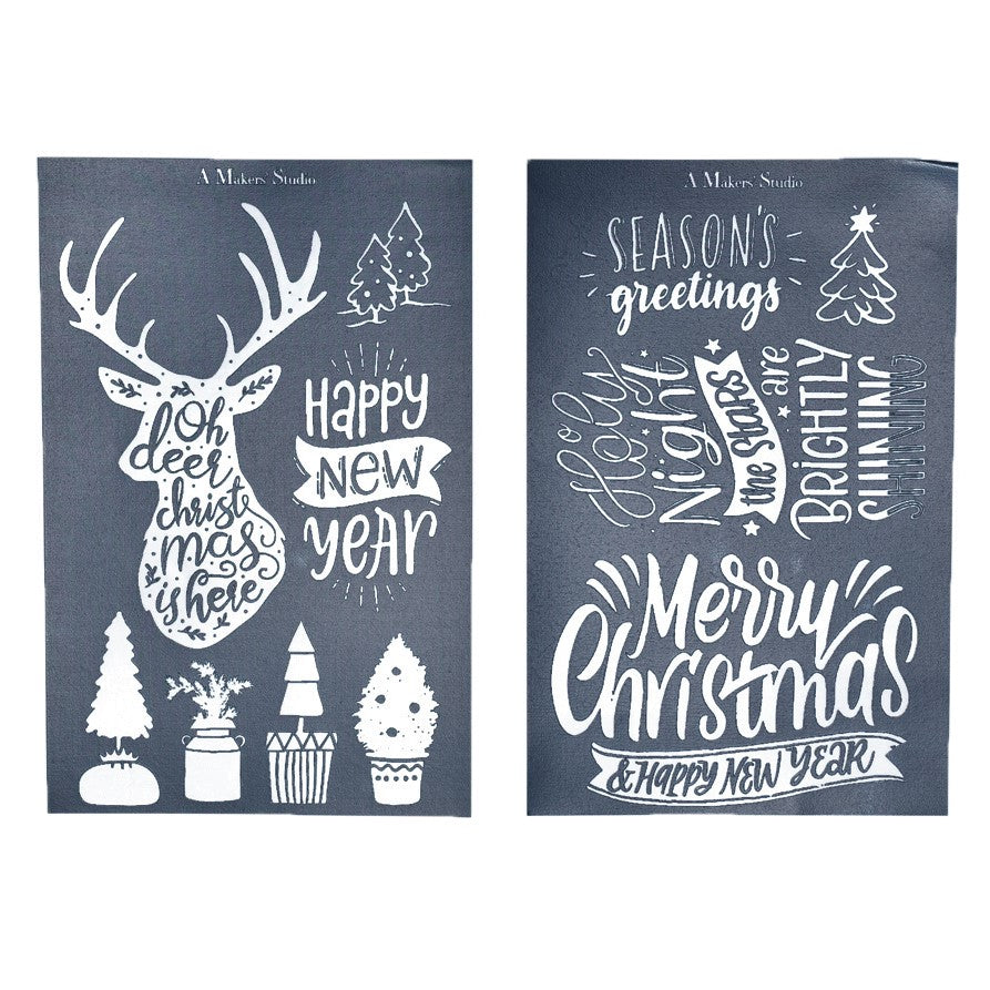 Mesh Stencil - 2 pack - Oh Deer It's Christmas - 5.5 x 8.5