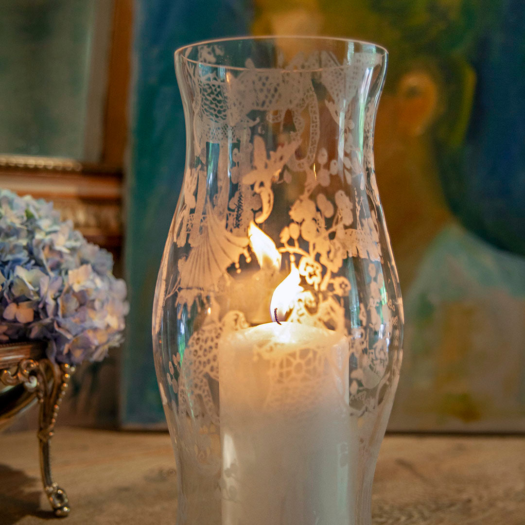 Etched Chinoiserie Vase