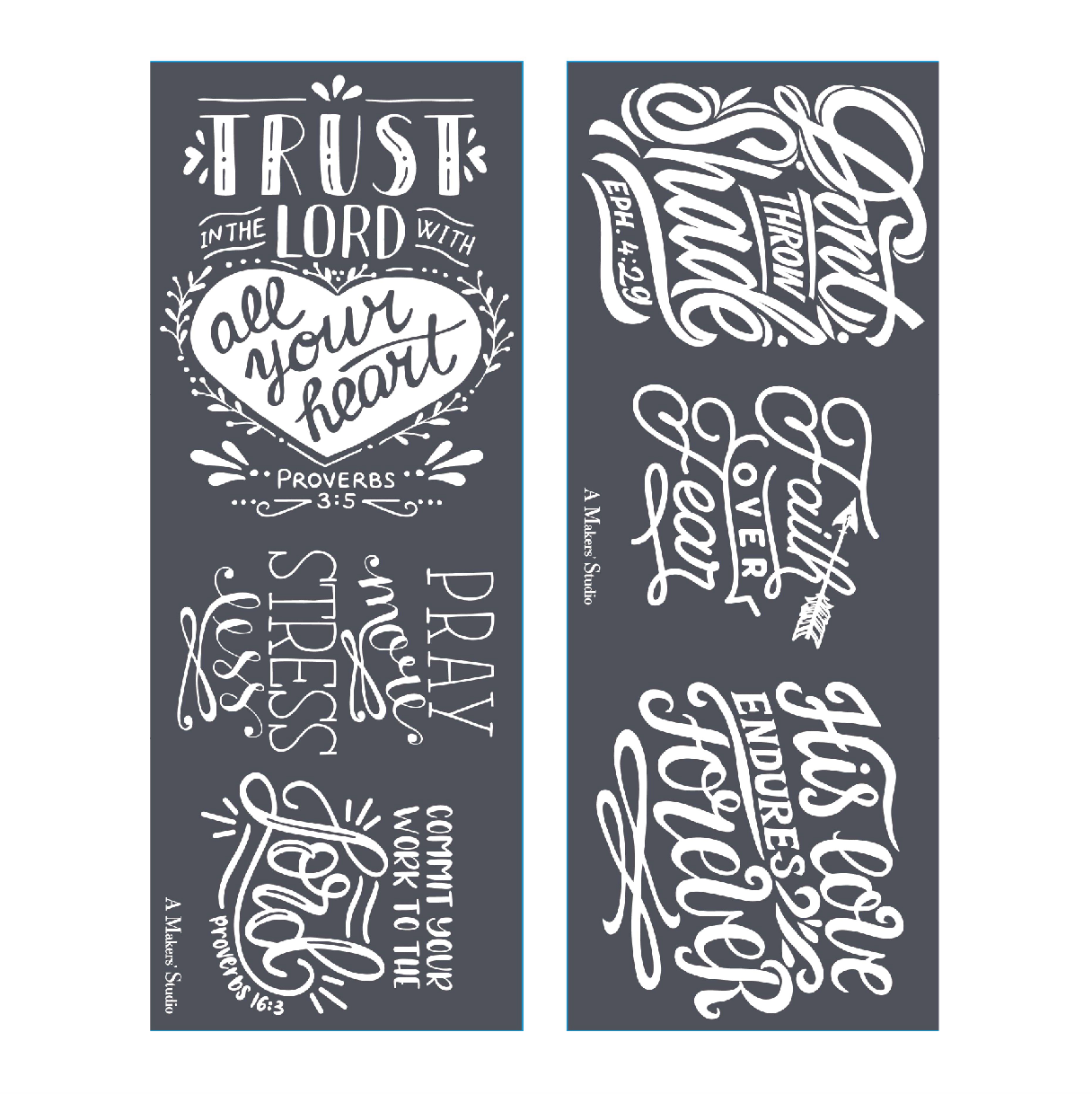 Mesh Stencil - 2 pack - Pray More, Stress Less - 4.25x11