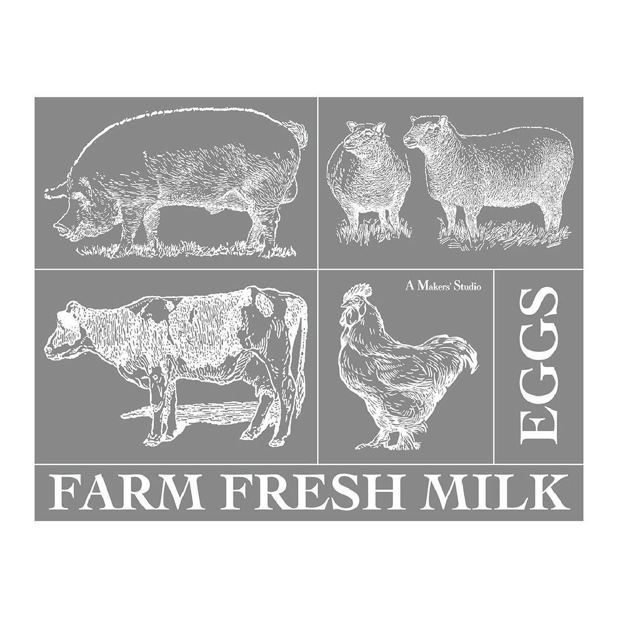 Mesh Stencil - Farm Animals - 8.5 x 11