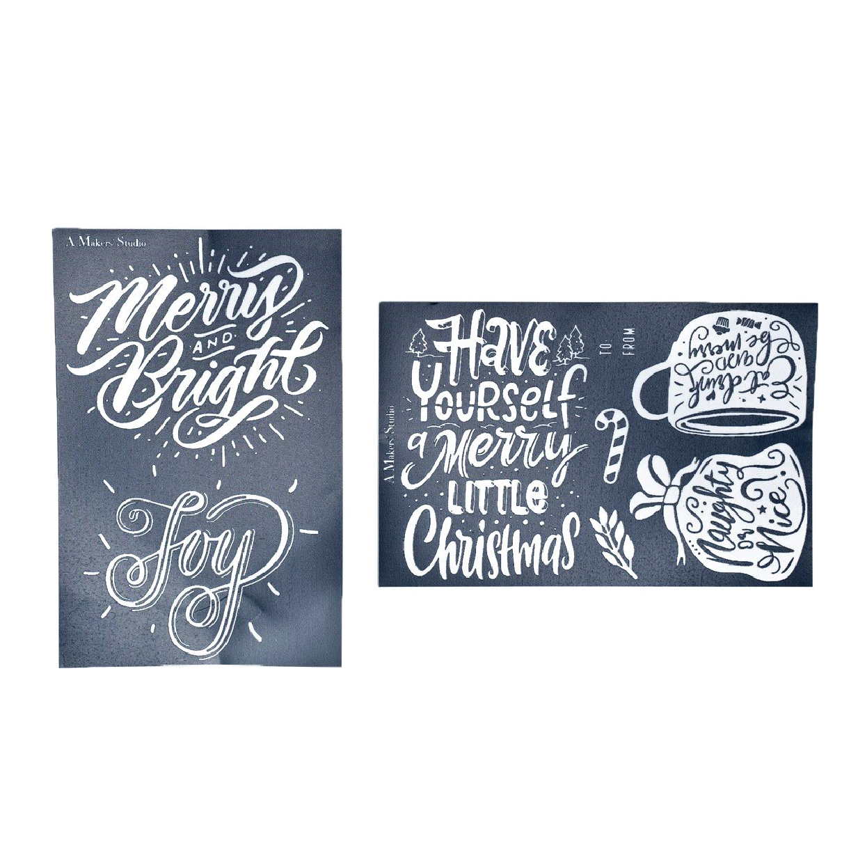 Mesh Stencil - 2 pack - Naughty or Nice - 5.5 x 8.5