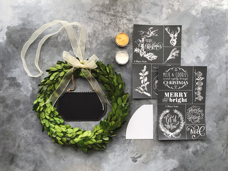 Chalkboard Christmas Wreath