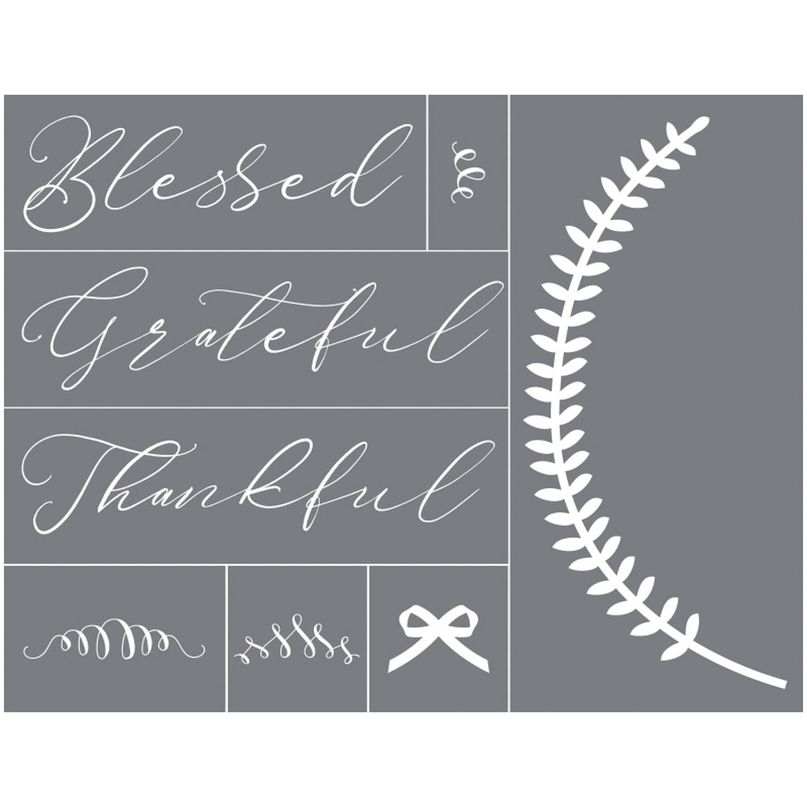 Mesh Stencil - Blessed Grateful Thankful - 8.5x11