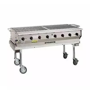 "Magikitch'n NPG-60 Mobile Gas Commercial Outdoor Grill 60"" w/ Water Pans, 160,000 BTU, NG"