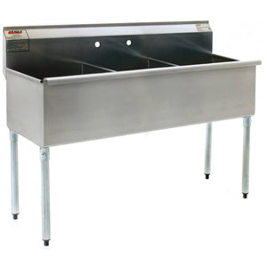 "Eagle Group 2136-3-16/4 - 37.4"" Three (3) Compartment Sink, Without Drainboard, 16/430 Stainless Steel"