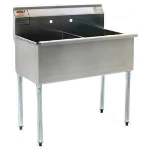 "Eagle Group 2448-2-16/4 - 49.4"" Commercial Utility Sink, 2 Compartment, Stainless Steel, without Drainboard"