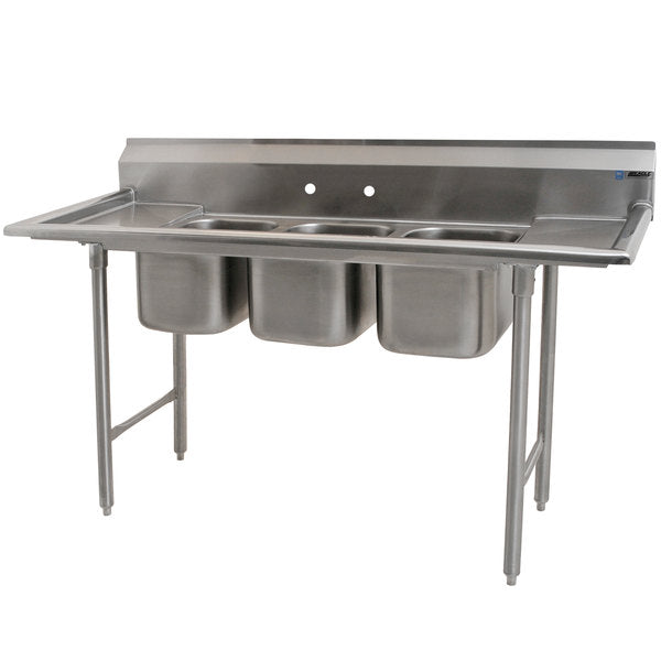 "Eagle Group 310-10-3-12 - 60"" Three (3) Compartment Sink, Two Drainboards"