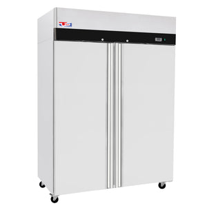 "US Inc USTV-48F - 53.9"" Reach-in Freezer, 2 Section, Top Mount, 6 Shelves, 2 Solid Door, 45 Cu. Ft. - 115V"