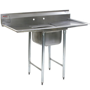 "Eagle Group 414-24-1-18 35 3/4"" x 62"" (2) Bowl Stainless Steel Commercial Compartment Sink w/ Two Drainboards"