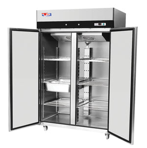 "US Inc USTV-48R - 53.9"" Reach-in Refrigerator, 2 Section, Top Mount, 6 Shelves, 2 Solid Door, 45 Cu. Ft. - 115V"