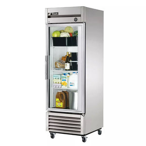 "True T-23G  Single Section Reach-In Refrigerator,  27"", (1) Glass Door, 115v"
