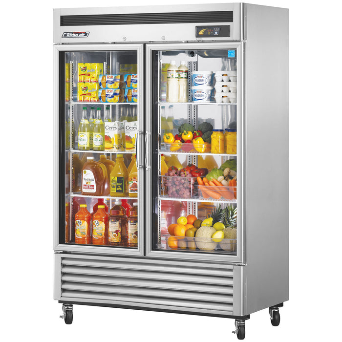 "Turbo Air TSR-49GSD-N 54.38"" Two Section Reach-In Refrigerator, (2) Sections & (2) Glass Doors, 115v"