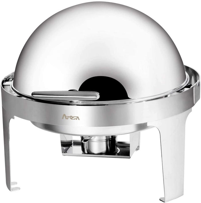 Atosa AT51363 - Round Chafing Dish, 6 Qt. Roll Top, Stainless Steel