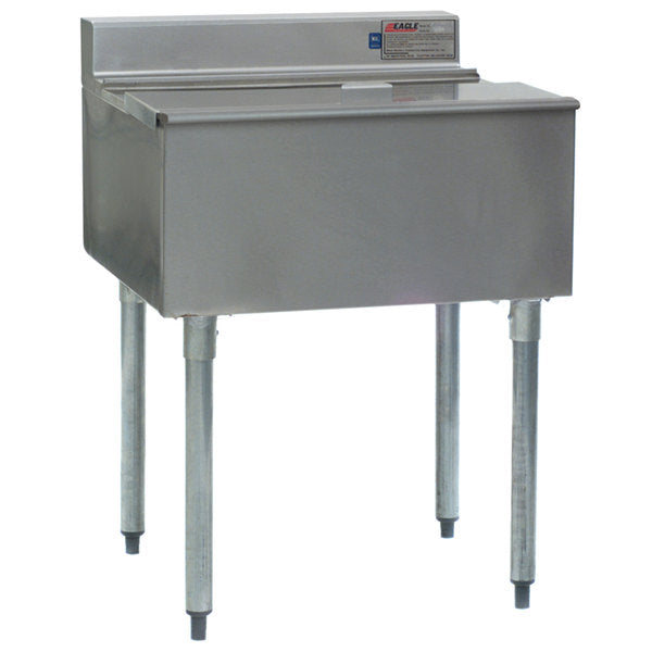 "Eagle Group B36IC-18 - Ice Bin, 1800 Series Underbar Ice Chest Unit, 8"" Deep, 304 Stainless Steel, 59 Lb. Capacity - 36""W x 20""D"
