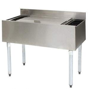 "Eagle Group B3CT-12D-18 - 36"" Underbar Cocktail / Ice Bin with 8 Bottle Holders, Sliding Cover, Stainless Steel"