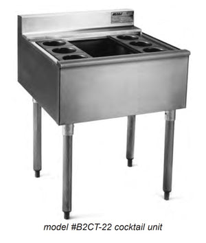 "Eagle Group B3CT-22 - 36"" Underbar Cocktail Unit, With 75 lb. Ice Bin, 8 Bottle Wells Outside Bin, 2200 Series"