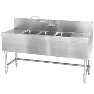 "Eagle Group B5-3-LR-24 Spec-Bar 60"" x 24"" 20 Gauge Three Bowl Stainless Steel Underbar Sink with (2) 12"" Drainboards"