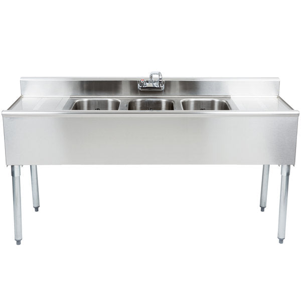 "Eagle Group B5C-18 60"" Underbar Sink Unit w/ (3) Compartments, 12.5"" Left & Right Drainboards"