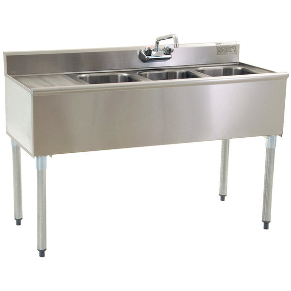 "Eagle Group B5L-18 - 60"" Underbar Sink, 24"" Left Drainboard, Three Compartment, Splash Mount Faucet"