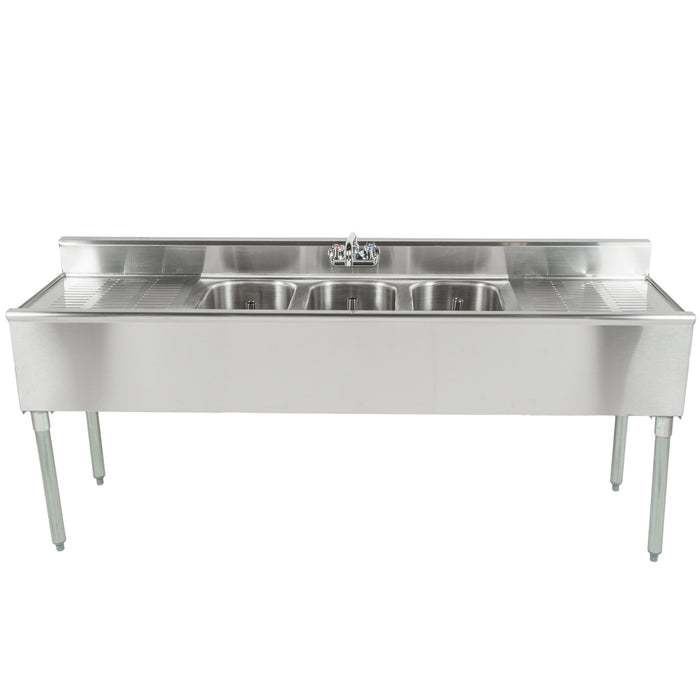 "Eagle Group B6C-18 - 72"" Underbar Sink Units, 1800 Series, Three Compartment, 304 Stainless Steel, Drainboards on Left & Right, 4.5""H Backsplash"