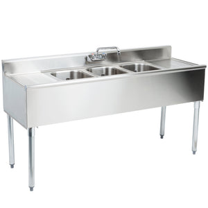 "Eagle Group B7C-18 - 84"" Underbar Sink, 3 Compartment, With 2 Drainboards, 1 Faucet, 1800 Series, Stainless Steel"