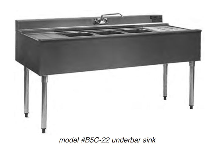 "Eagle Group B8C-22 - 96"" Underbar Sink, 3 Compartments, 2 Drainboards, 1 Faucet, 2200 Series, 304 Stainless Steel"