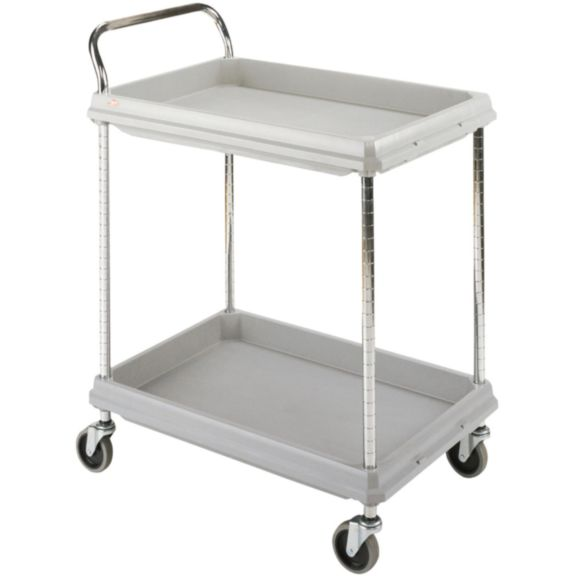 "Metro BC2030-2DG Utility / Bussing Cart, 32.75"" x 21.5"", 2 Two Deep Ledge Shelves, 150lbs/shelf capacity"