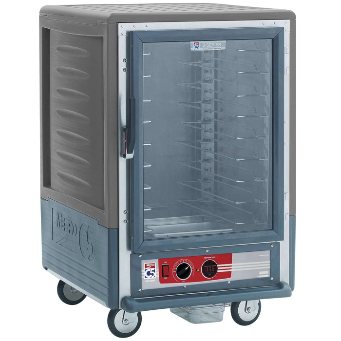 Metro C535-HLFC-U-GY C5 Half Size Heated Holding Cabinet, 3 Series Insulated Low Wattage with Universal Wire Slides and Clear Door - Gray