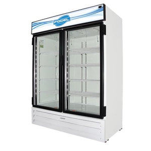 "Fogel USA CR-49-HC 65"" Reach-In Merchandiser Refrigerator with Two Hinged Glass Door, White, 115v/60/1-ph"