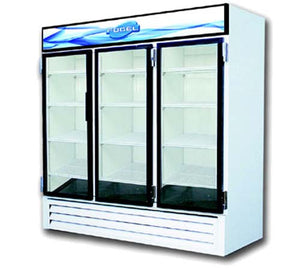 "Fogel USA CR-65-HC - 78"" Refrigerated Merchandiser, Reach-in, Three-section, (3) Glass Doors, (12) Shelves, 65 Cu. Ft. Capacity"