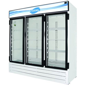 "Fogel CR-65-US - 78"" Reach-In Refrigerator, 3 Section, 3 Glass Doors, 12 Shelves, Bottom Mount, 65 Cu.ft., 3/4 HP, 115V"
