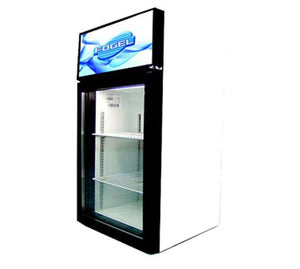 Fogel CTE-3-US - Reach-In Display Refrigerator, Countertop, 1 Section, 1 Glass Door, 2 Shelves, Top Mount, 3 Cu.ft., 1/8 HP, 115V