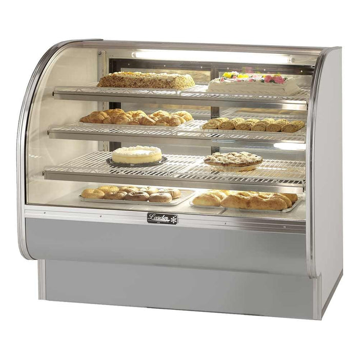 "Leader CVK57- 57"" Bakery Display Case, Refrigerated, Curved Glass, Self Contained, 2 Door, 3 Shelf, 1/3 HP, 115V"