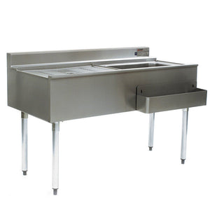 "Eagle Group CWS5-18R - 60"" Ice Bin with Drainboard, Underbar Cocktail Workstation, 75 Lb. Capacity"