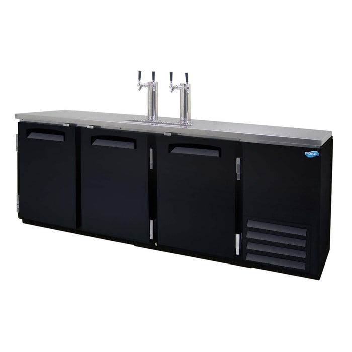 "Fogel DBD-4 - 90"" Draft Beer Dispenser, 4 Section, 4 Dispenser, 2 Tower, 3 Solid Hinged Doors, 1/3 HP, 26 Cu.ft., 115V"