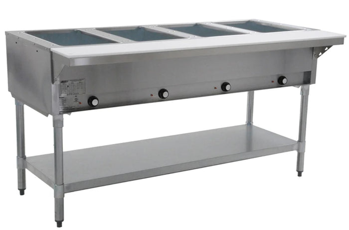 "Eagle Group DHT4-240 - 63.5"" Hot Food Table, Electric, (4) Wells, Open Base, Undershelf, 240V/1ph"