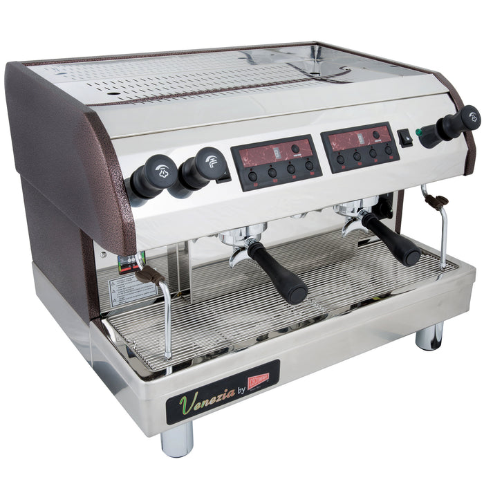 "Cecilware ESP2 - 28.5"" Twin Espresso Machine, 480 Cups/hr Capacity, Automatic, 2 Heads, 2 Steam Wands, 240v"