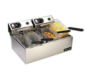 "Anvil FFA7020 - 23"" Electric Countertop Fryer W/ 20lb Dual Fry Pots, (2) 1.8 kW, 110V/60/1-ph"