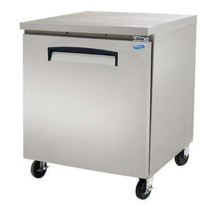 "Fogel FST-27-E - 27.5"" Refrigerated Worktop, 1 Section, 1 Solid Door, 2 Shelves, Undercounter, 6 Cu.ft., 1/5 HP, 115V"