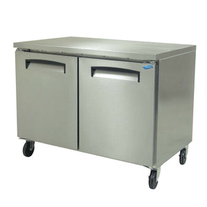 "Fogel FST-45-E - 45"" Refrigerated Worktop, Undercounter, 2 Section, 2 Solid Doors, 4 Shelves, 11.6 Cu.ft., 1/4 HP, 115V"