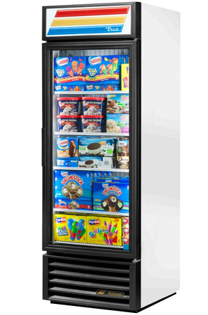 "True GDM-23F-LD - 27"" Merchandiser Freezer, 1 Section, 1 Glass Door, 4 Shelves, Bottom Mount, 3/4 HP, 23 Cu. Ft., 115V"