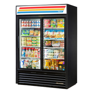 "True GDM-47RL-HC-LD - 54"" Glass Door Merchandiser, (2) Section, (8) Shelves,  4 Doors(2 Front, 2 Back), Bottom Mount, ½ HP, 47 Cu.ft, 115V/60/1ph"