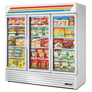 "True  GDM-72F-LD - 78"" Merchandiser Freezer Three-Sections w/ Swinging Doors - Bottom Mount Compressor, White"