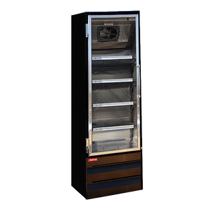 "Howard McCray GF22BM-LT-B 31.50"" One Section Self-Contained Refrigeration with Hinge Glass Door, Bottom Mount Compressor, Black, 115-208v/60/1-ph"