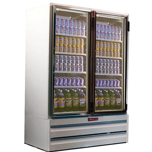 Howard-McCray GF42BM-LT, Two Section, Self-Contained Refrigeration with Two Hinged Glass Doors, Bottom Mount Compressor, White, 115/208-230v/60/1-ph